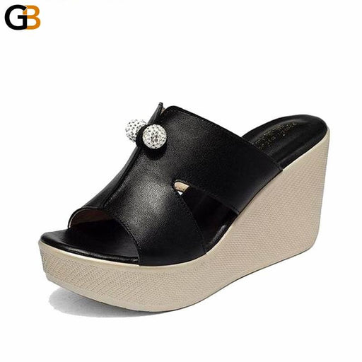 Genuine Leather Summer Wedges High Heel Platform Sandals for Women - SolaceConnect.com