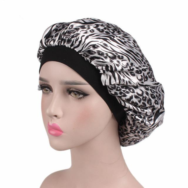 Comfortable Women's Wide Band Hair Loss Chemo Satin Sleeping Cap - SolaceConnect.com