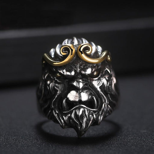Men's 925 Silver Monkey King Adjustable Vintage Punk Rock Cocktail Ring - SolaceConnect.com