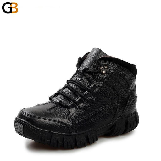Men's Super Warm Genuine Leather Military Lace-Up Fur Boots for Winter - SolaceConnect.com