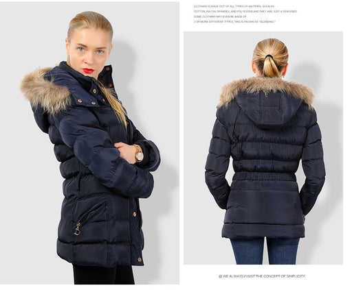 COUTUDI Arrival Winter Jacket Women Slim Thick Warm Stylish Jacket Coats Lady With Fur Hooded - SolaceConnect.com
