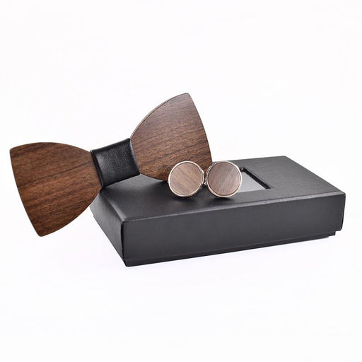 Fashion Wedding Wood Bow Tie Cufflinks Set Mens Suit Papillon Corbatas Tie gravata Pajaritas - SolaceConnect.com