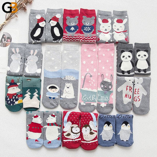 Cartoon Animal Paradise Women's Casual Thick Funny Happy Art Socks - SolaceConnect.com