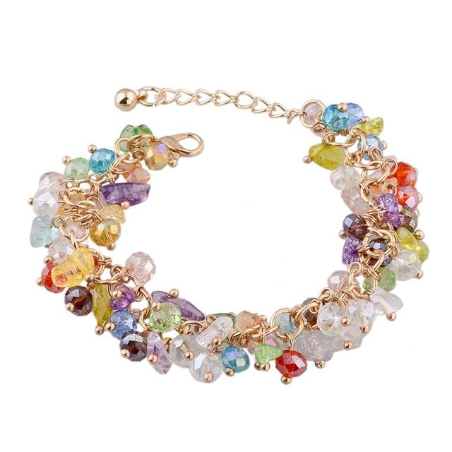 Gold Color Women's Crystal Bracelets & Bangles Jewelry with Stones - SolaceConnect.com