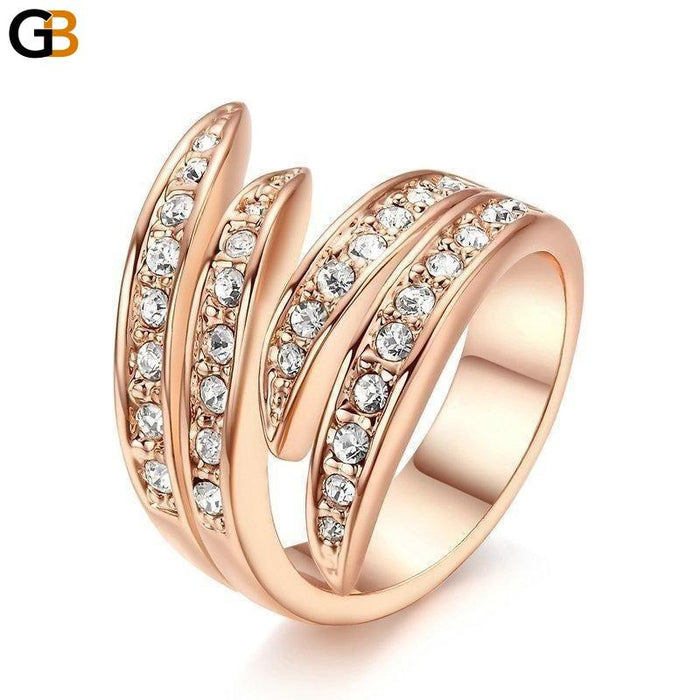 Angel's Wing Rose Gold Color Austrian Crystal Ring for Men Women - SolaceConnect.com