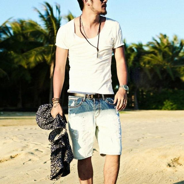 Men's Exclusive Pretty V Neck Cut Off Border Summer Style T-Shirt Tops - SolaceConnect.com