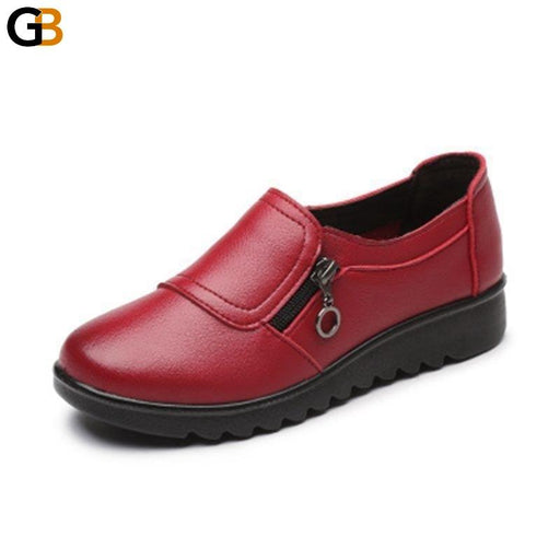 Women's Comfortable Autumn Fashion Casual Leather Slip On Shoes - SolaceConnect.com