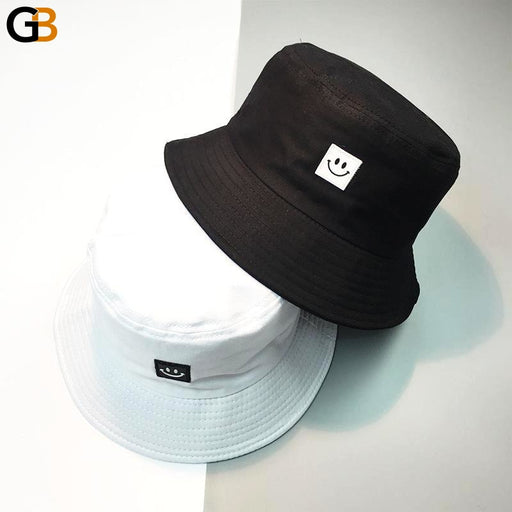 Men and Women Summer Panama Bucket Hats with Smile Face Design - SolaceConnect.com