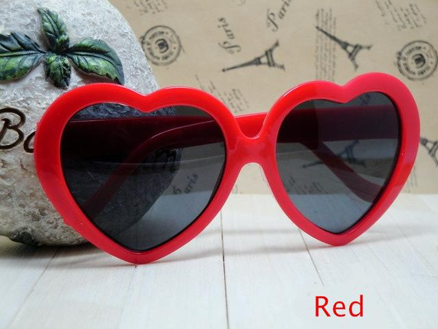 Heart Shaped Love Googles Mirror Lens Sunglasses for Women Children - SolaceConnect.com