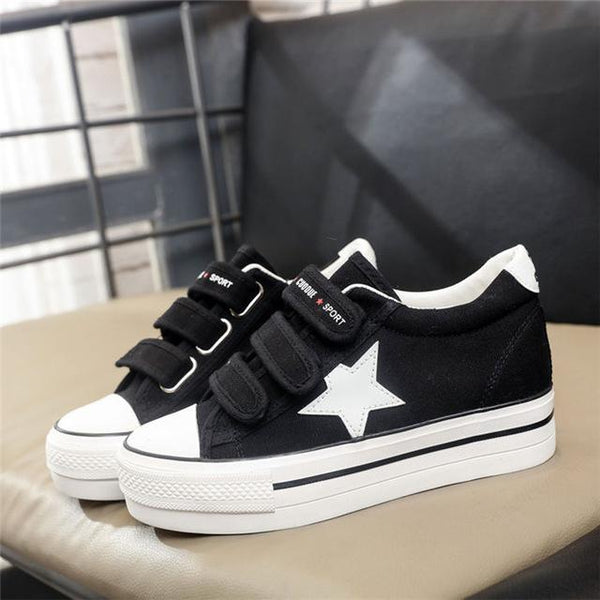 Super Quality Women's Star Pattern Flats Canvas Hook and Loop Shoes - SolaceConnect.com