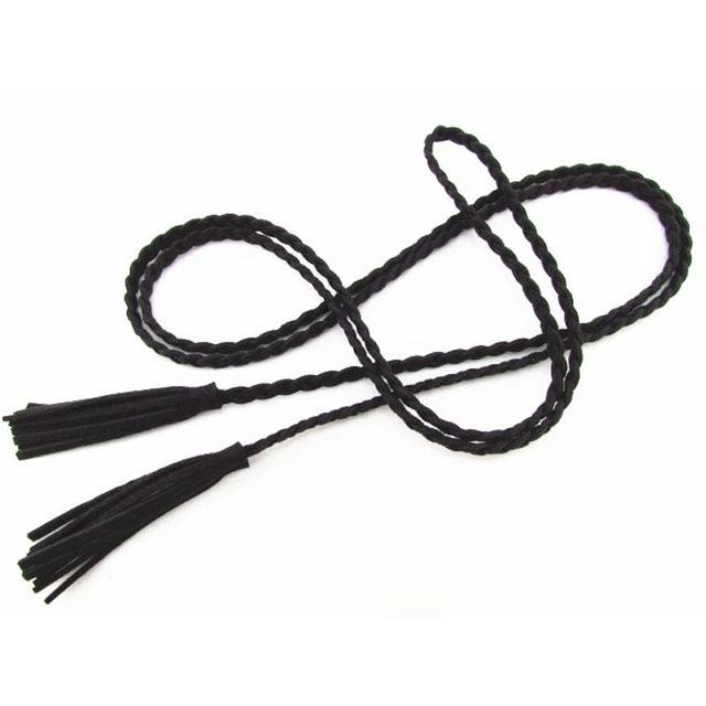 Girl's Leather Designer Hand-Knit Braided Waist Belts with Tassel for Party - SolaceConnect.com