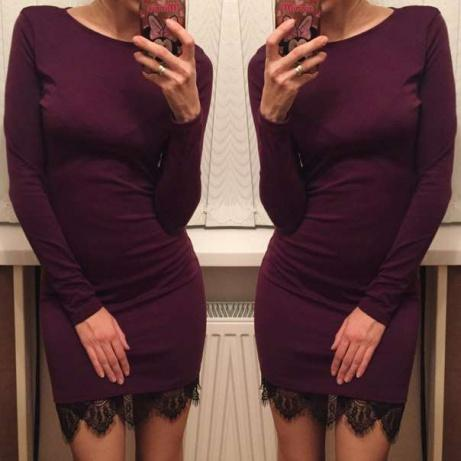 Autumn Winter Women's Bodycon dress Lace Hem Long Sleeve Solid Evening Party Warm Dresses - SolaceConnect.com