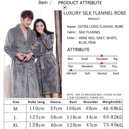 Extra Long Soft Silk Warm Flannel Femme Bathrobe for Men and Women - SolaceConnect.com