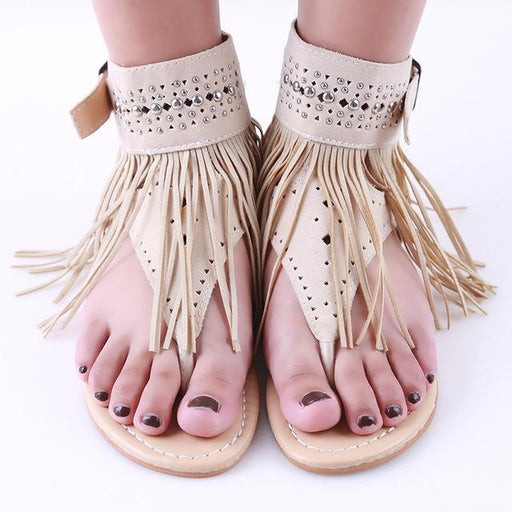 Summer Bohemian Vintage Flat Women's Flip Flops Sandals with Tassel - SolaceConnect.com