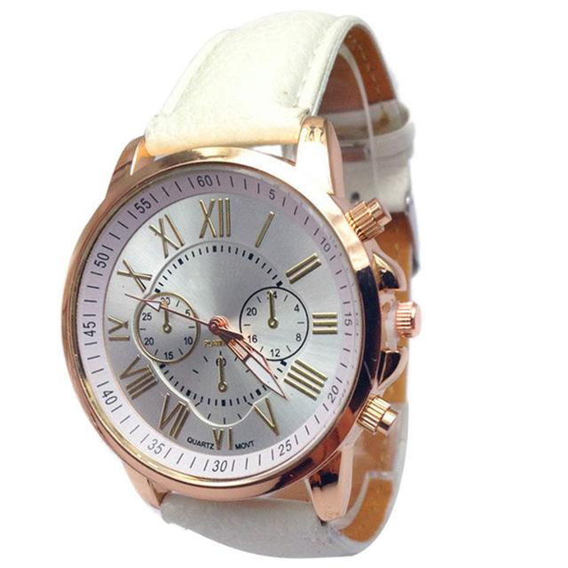 Women's Casual Faux Leather Blue Ray Glass Quartz Analog Wristwatches - SolaceConnect.com