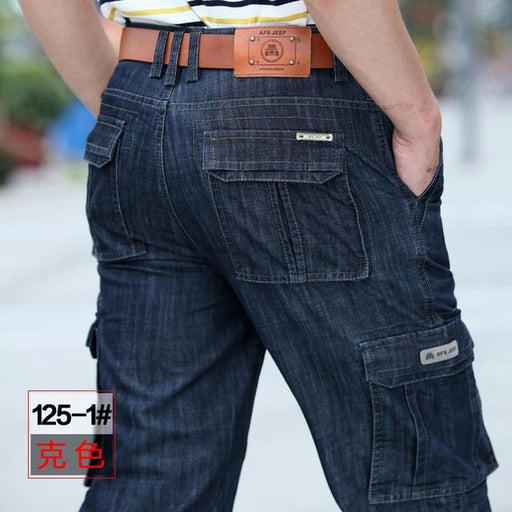 Big Size 29-40 42 Cargo Multi Pocket Jeans for Men in Casual Military Style - SolaceConnect.com