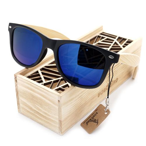 Men's Summer Style Vintage Black Square Mirrored Bamboo Travel Sunglasses - SolaceConnect.com