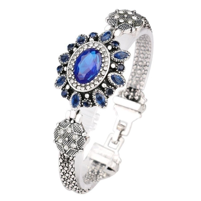 Latest Design Bohemian Retro Silver Resin Crystal Bracelet for Women - SolaceConnect.com
