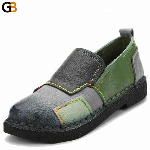 Mixed Color Handmade Casual Loafers Genuine Leather Shoes for Women - SolaceConnect.com
