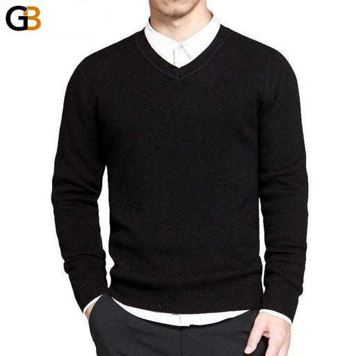Spring Wear V-neck Cotton Knitted Thin Sweater and Pullovers for Men - SolaceConnect.com