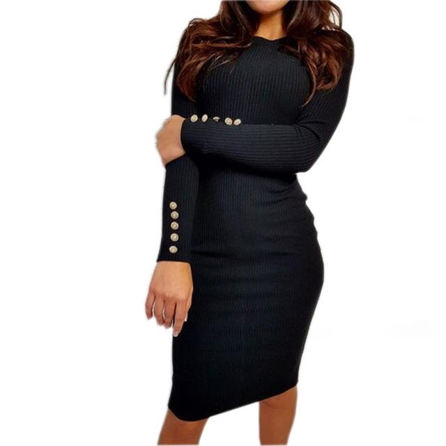Autumn Winter Warm Knitted Midi Dress Women Sexy Solid Long Sleeve Package Hip Bodycon Dress - SolaceConnect.com