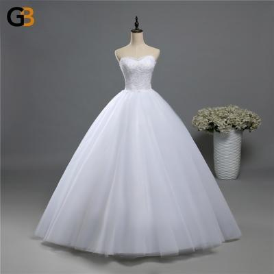 fashion Beads Crystal White Ivory Wedding Dress for brides plus size formal sweetheart - SolaceConnect.com