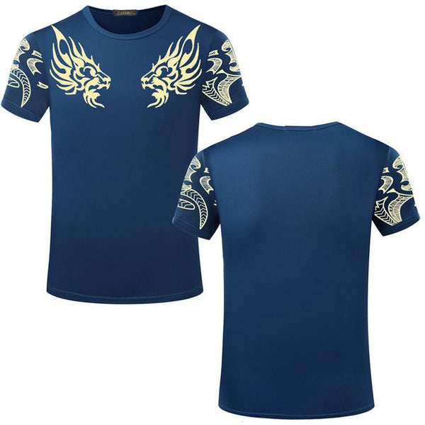 Fashion Men's Indian Print Casual Loose Fit Short Sleeve O-Neck T-Shirt - SolaceConnect.com