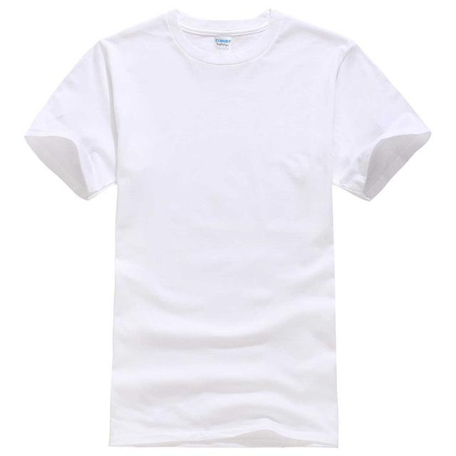 Men's Solid Color Black and White 100% Cotton T-Shirt for Summer Skateboard - SolaceConnect.com