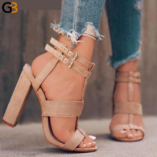 8cm Suede Leather Girl's Navy High Heels Beach Sandals Shoes - SolaceConnect.com