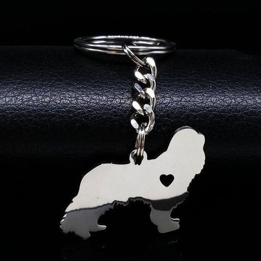 Cavalier King Charles Spaniel Dog Silver Color Stainless Steel Keychain - SolaceConnect.com