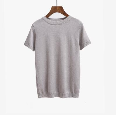 Summer Knitted Short Sleeve Solid O-Neck Slim Fashion T-Shirt Top Tees - SolaceConnect.com