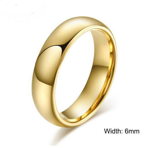 100% Pure Tungsten Rings 4mm and 6mm Wide Gold-Color Unisex Wedding Rings - SolaceConnect.com