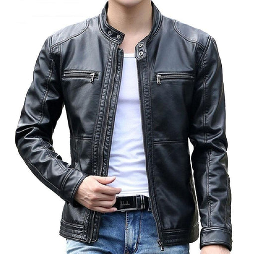 Mountainskin 5XL Men's Leather Jackets Men Stand Collar Coats Male Motorcycle Leather Jacket - SolaceConnect.com