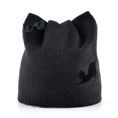Winter Femme Knitted Skullies Beanies Cap with Ears for Girls - SolaceConnect.com