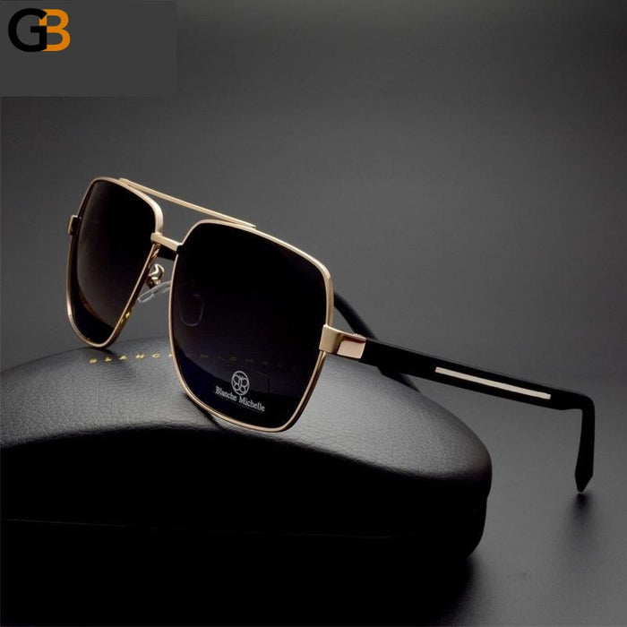 High Quality Square Sunglasses for Men with Polarized UV400 Mirror Lens - SolaceConnect.com
