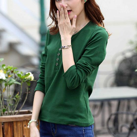 Autumn Fashion Long Sleeve T-Shirt Tops with Button Decoration for Women - SolaceConnect.com