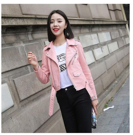 Fashion Bright Color Black Short Faux Leather Motorcycle Coat for Women - SolaceConnect.com