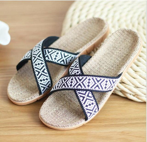 Quality Flax Non-Slip Bohemian Lovers Summer Indoor Home Slippers Shoes - SolaceConnect.com