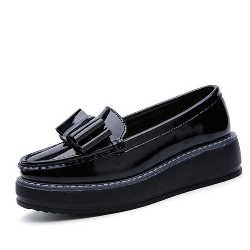 Women's Summer Flat Platform Leather Slip-On Shallow Moccasin Shoes - SolaceConnect.com