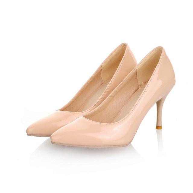 Women's Plus Size 34-47 Synthetic Leather High Heel Party Slip-On Pumps - SolaceConnect.com