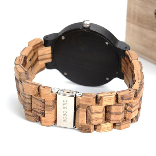 Calendar Wooden Strap Round Calendar Wristwatch with Quartz Movement - SolaceConnect.com