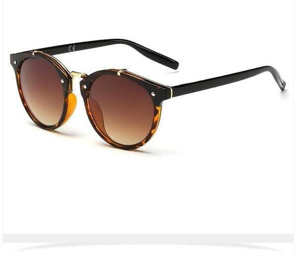 Women's Designer Round Plastic Frame Summer Sunglasses with Mirror Lens - SolaceConnect.com