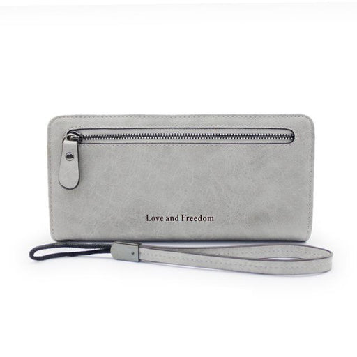 Luxury Vintage Women's Solid Synthetic Leather Designer Long Wallet Purse<br> - SolaceConnect.com