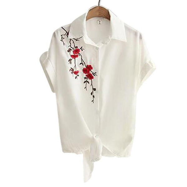 Top Summer Women Casual Tops Short Sleeve Embroidery White Top Blouses Shirts Sexy Kimono Loose - SolaceConnect.com