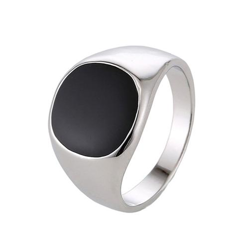 Men's Stainless Steel Minimalistic Design Gold Plated Black Vintage Ring - SolaceConnect.com