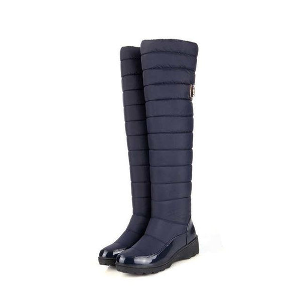 Fashion Women's Warm Winter Knee High Boots with Round Toe Down Fur - SolaceConnect.com