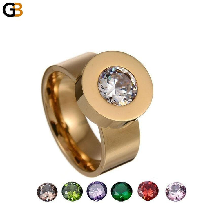 Stainless Steel Crystal Female Ring with Interchangeable 7 Colors CZ Stone - SolaceConnect.com