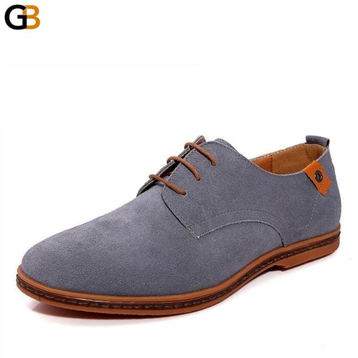Leather Rubber Suede Lace-Up Casual Flats Shoes for Fashion Men - SolaceConnect.com