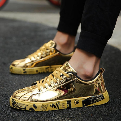 Unisex Casual Summer Brand Flats Fashion Lace-Up Golden Trainers - SolaceConnect.com