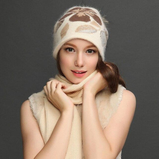 Charles Perra Women Hat Scarf Sets Winter Thicken Wool Knitted Hats Casual Fashion Warm Caps With - SolaceConnect.com